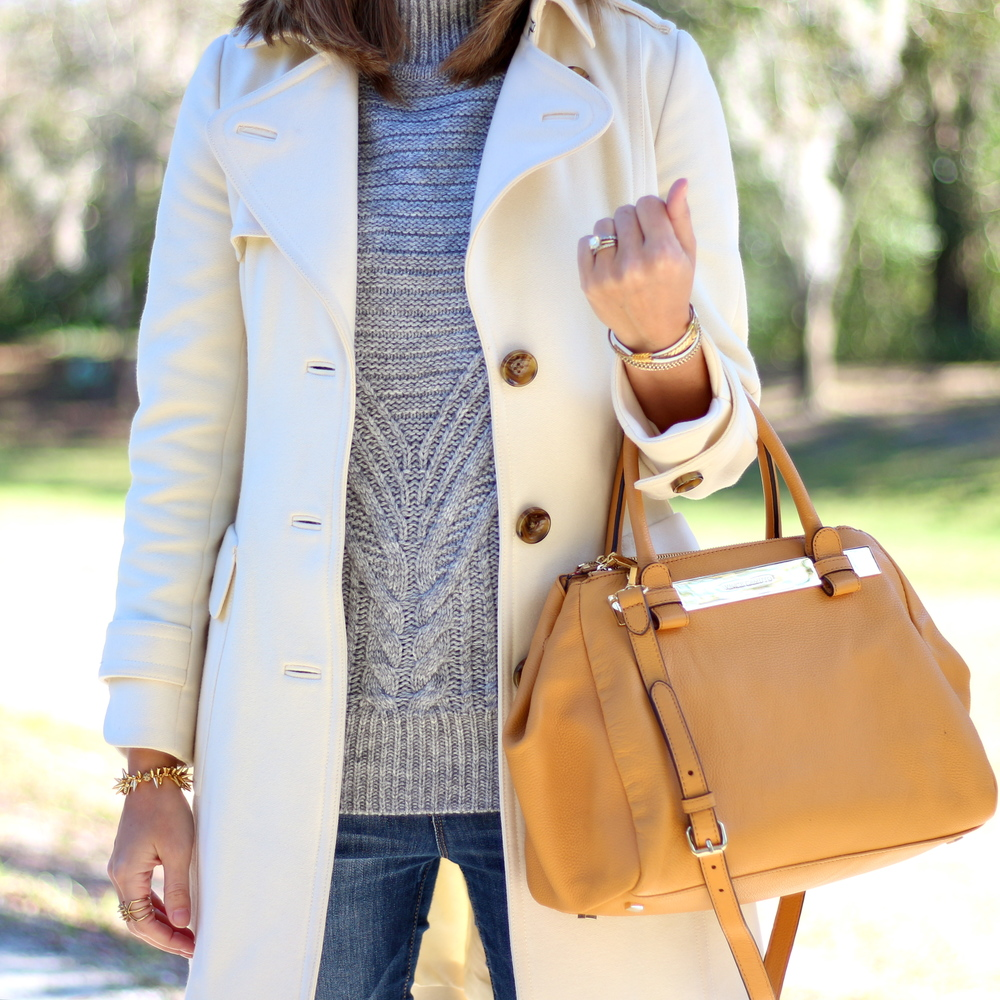 Gray turtleneck, ivory coat