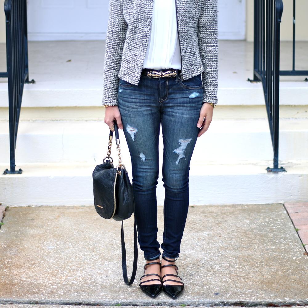 Dark wash skinny jeans, strappy flats