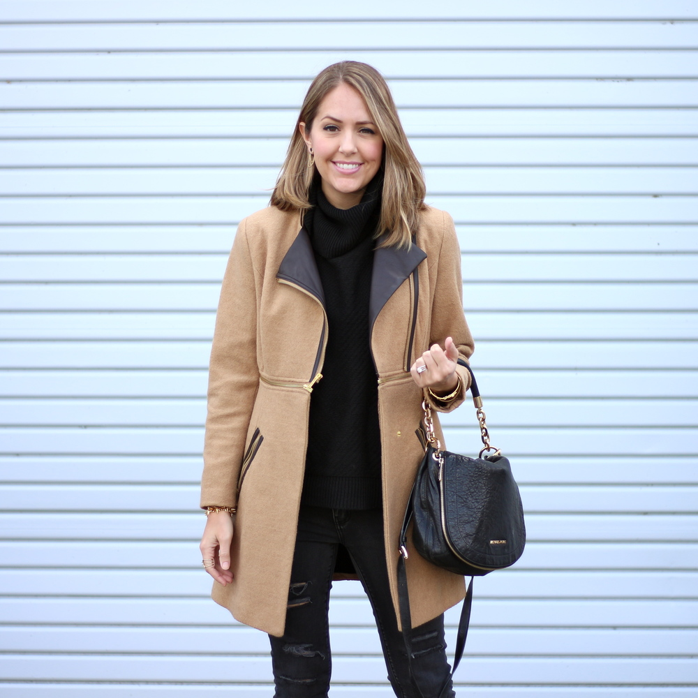 Camel coat, black turtleneck