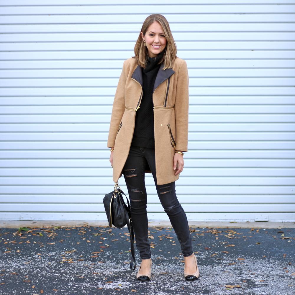 Camel coat, black jeans, cap toe flats
