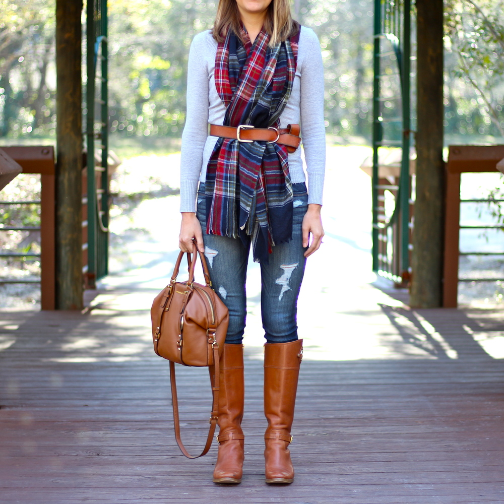 Plaid scarf, riding boots