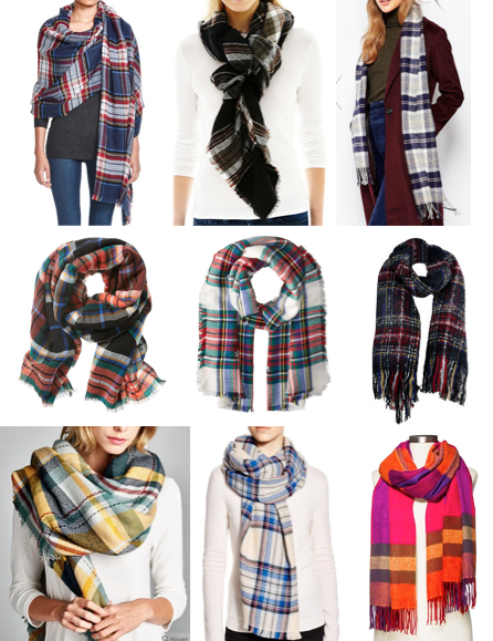 Plaid scarves on a budget