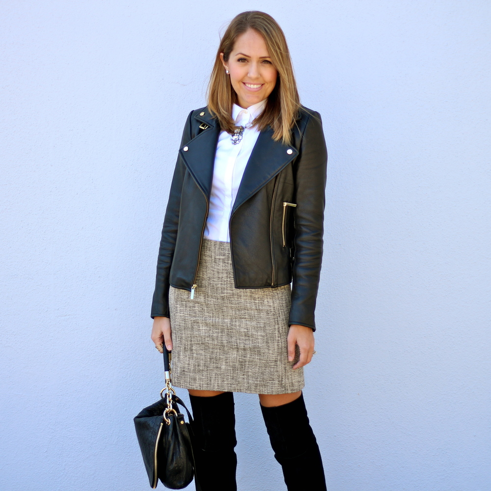 Black leather jacket, tweed skirt, over the knee boots
