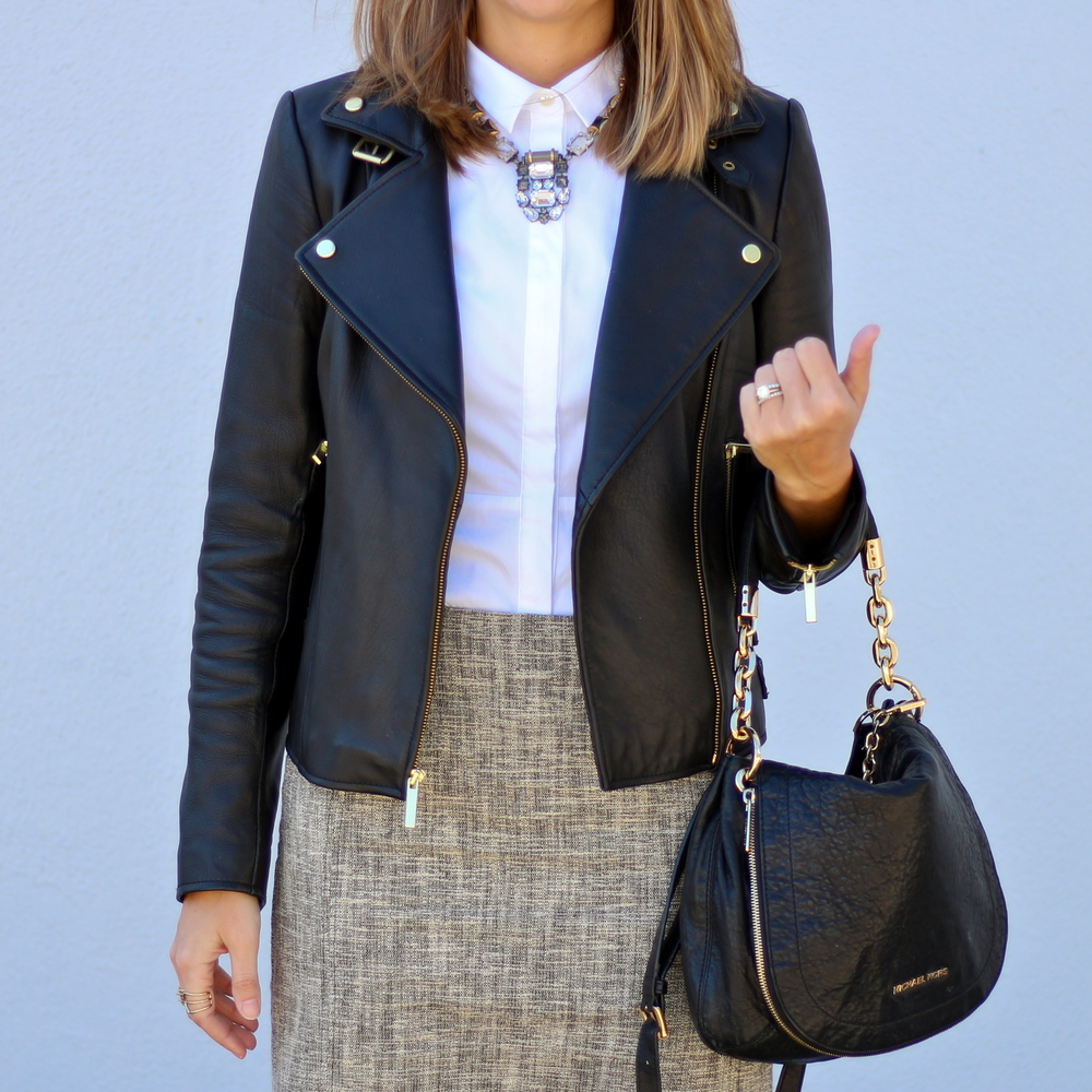Black leather jacket, tweed skirt