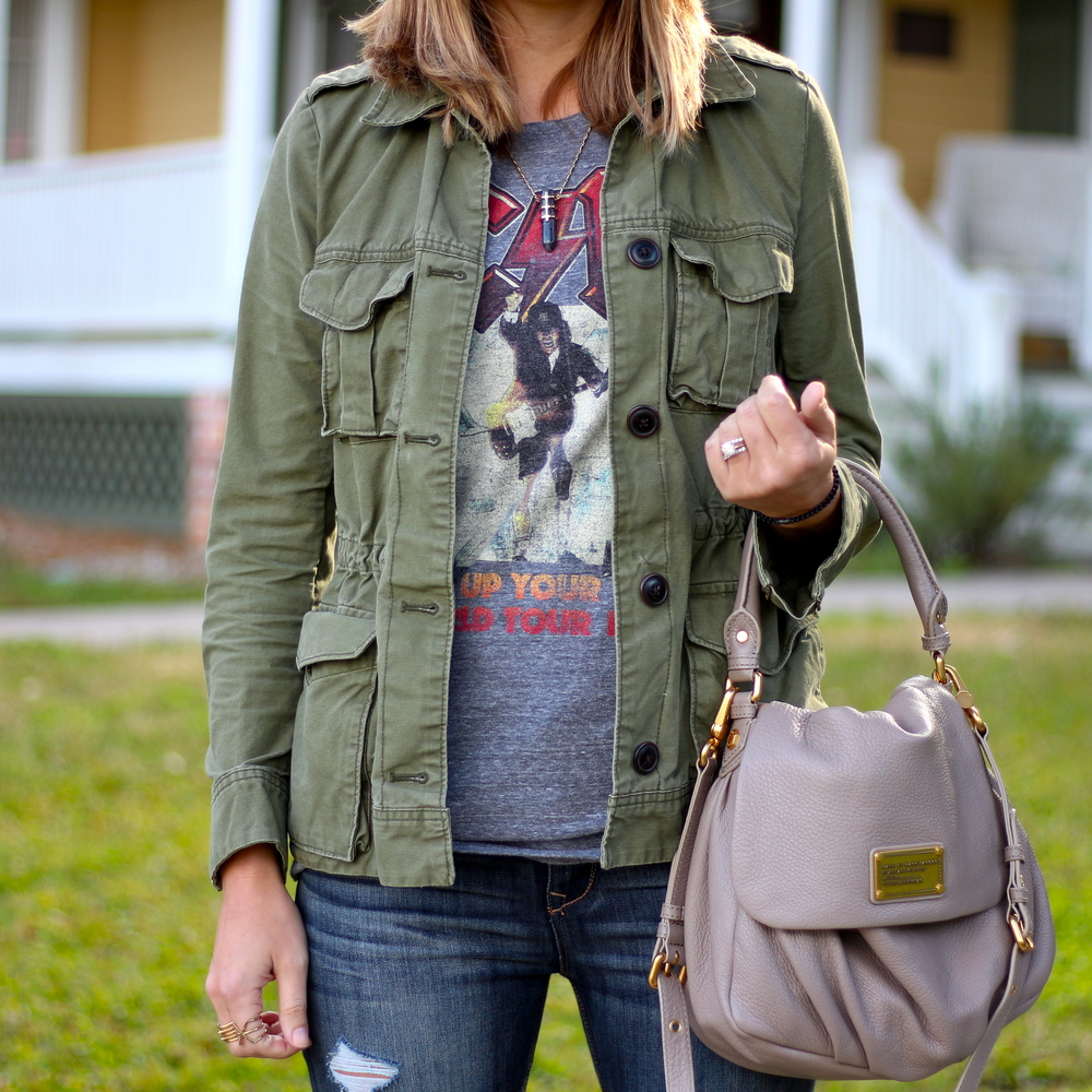Military jacket, concert tee
