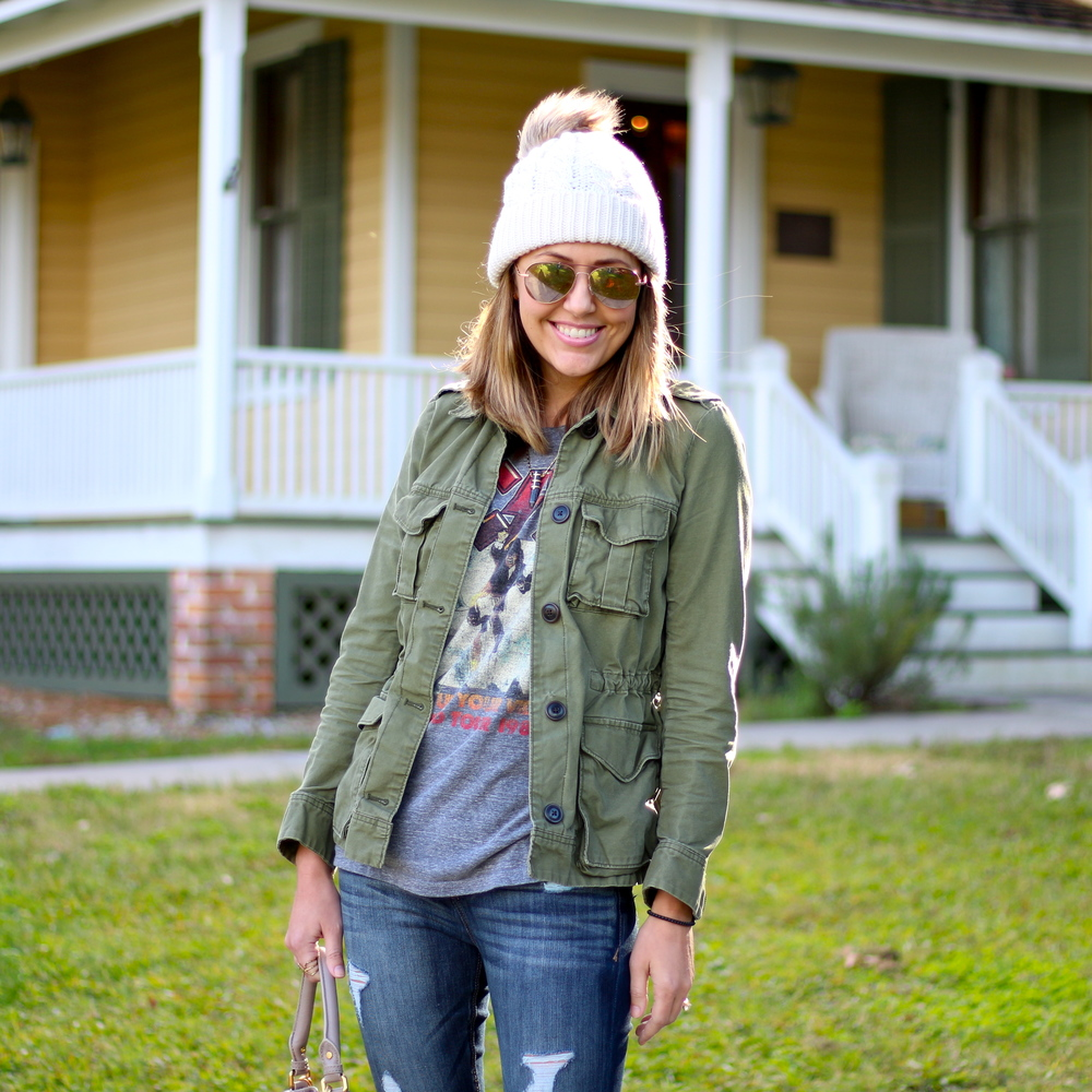 Military jacket, concert tee, wool hat