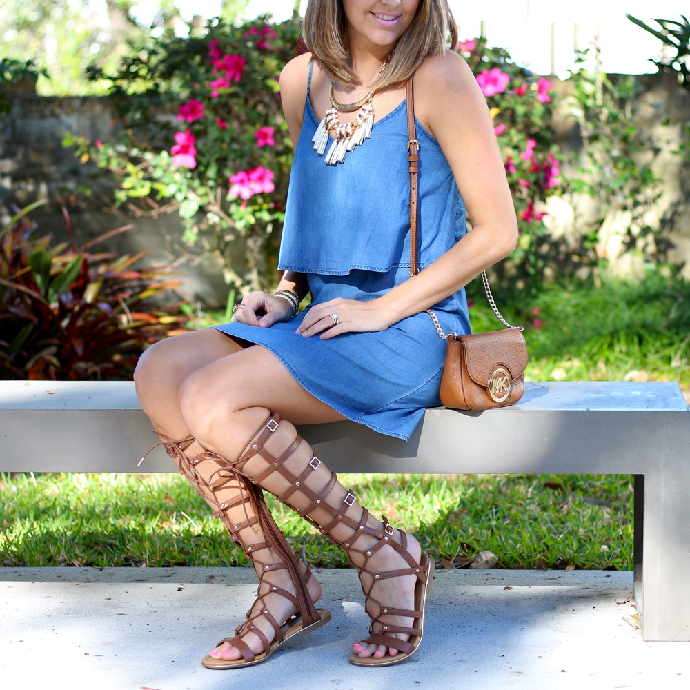 DSW sandals, Old Navy chambray dress