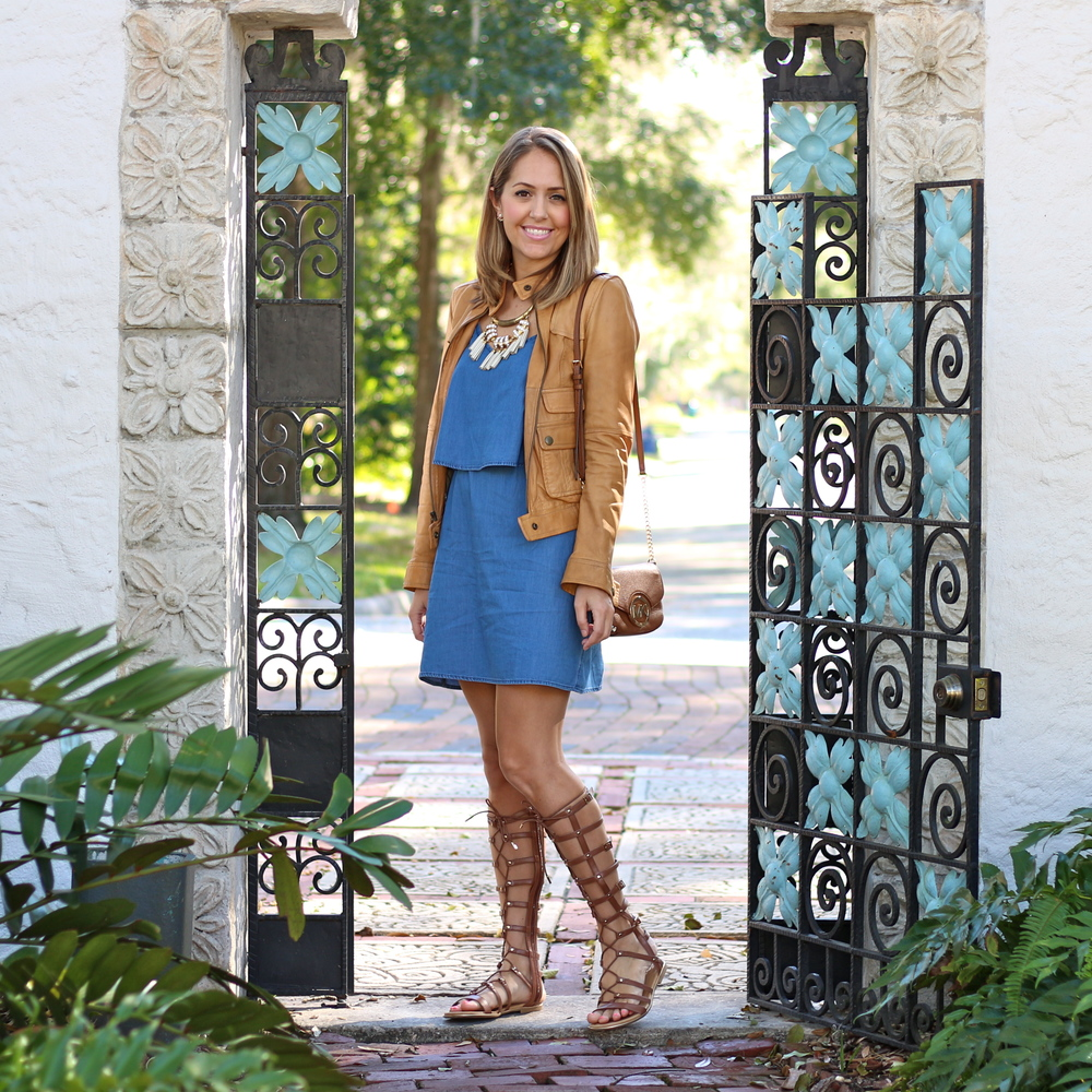 Chambray dress with lace up gladiators