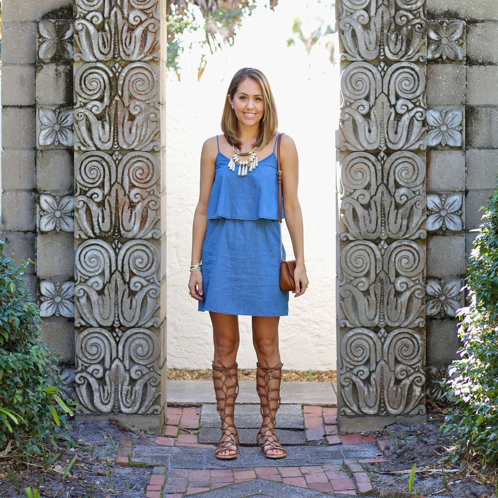 Chambray dress, lace up gladiators