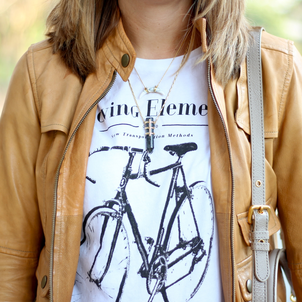 Bicycle graphic tee, tan leather jacket