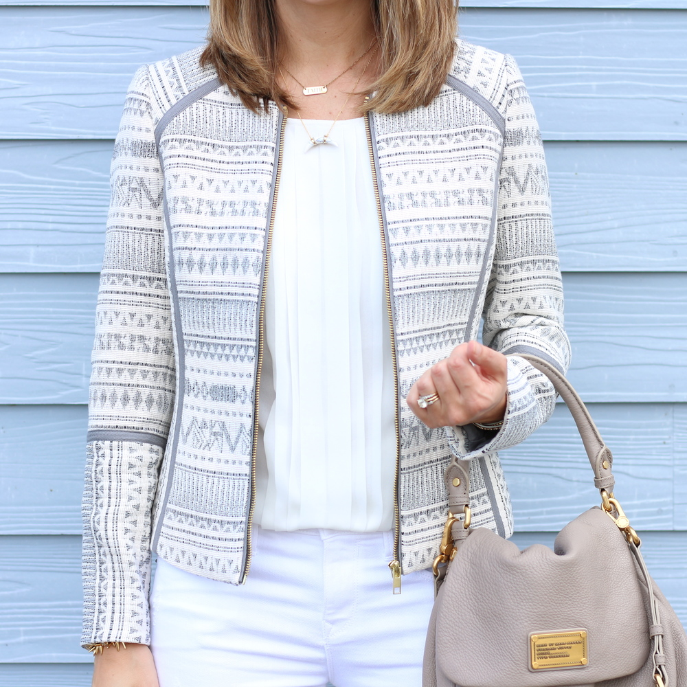 Jacquard print jacket, pleated blouse, white jeans