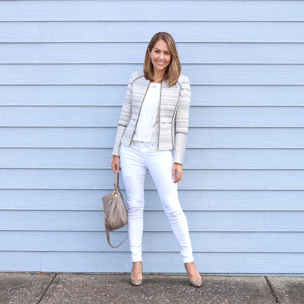 Jacquard print jacket, white jeans