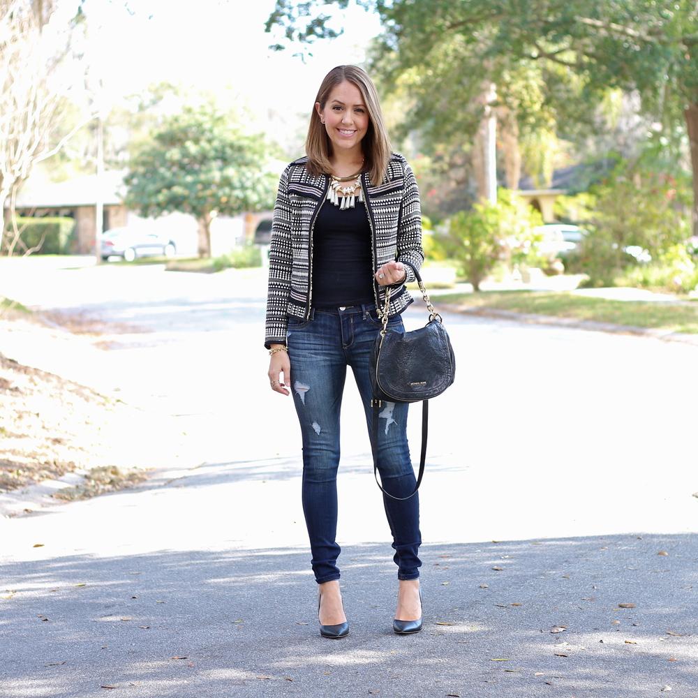 Jacquard weave jacket, skinny jeans