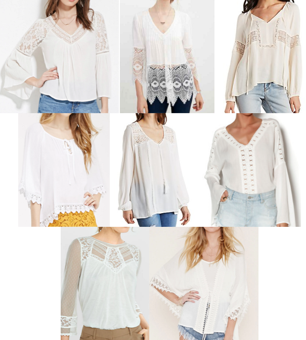 White crochet trim tops under $80