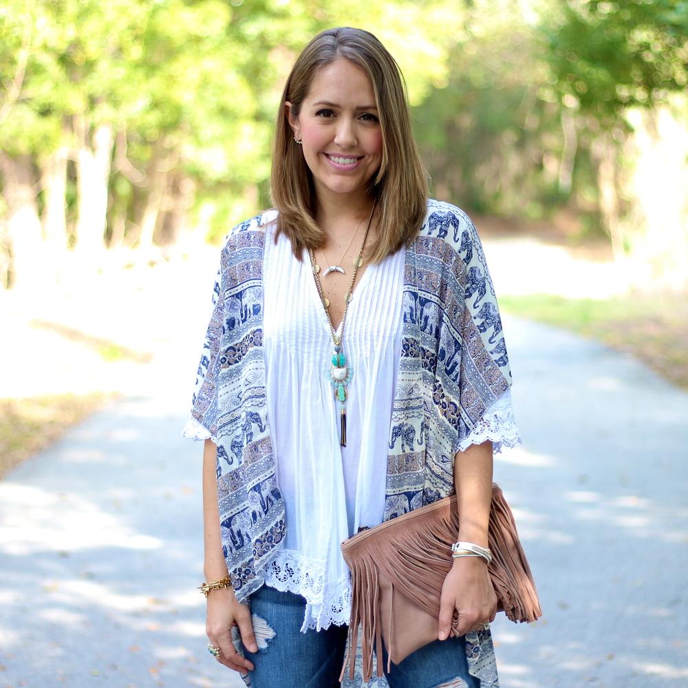 Blue print kimono, white crochet trim top