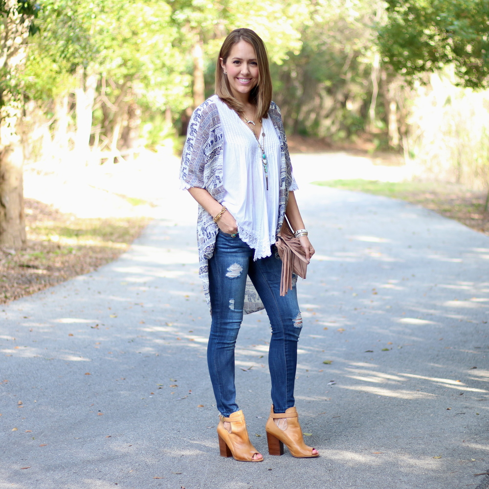 Blue print cardigan over white top