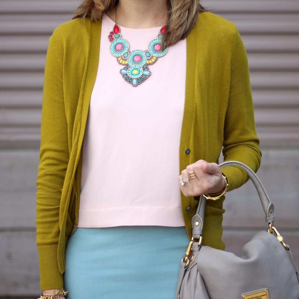 Olive cardigan, blush pink shirt, mint skirt