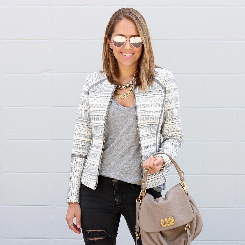 Pattern jacket, gray tee, black jeans