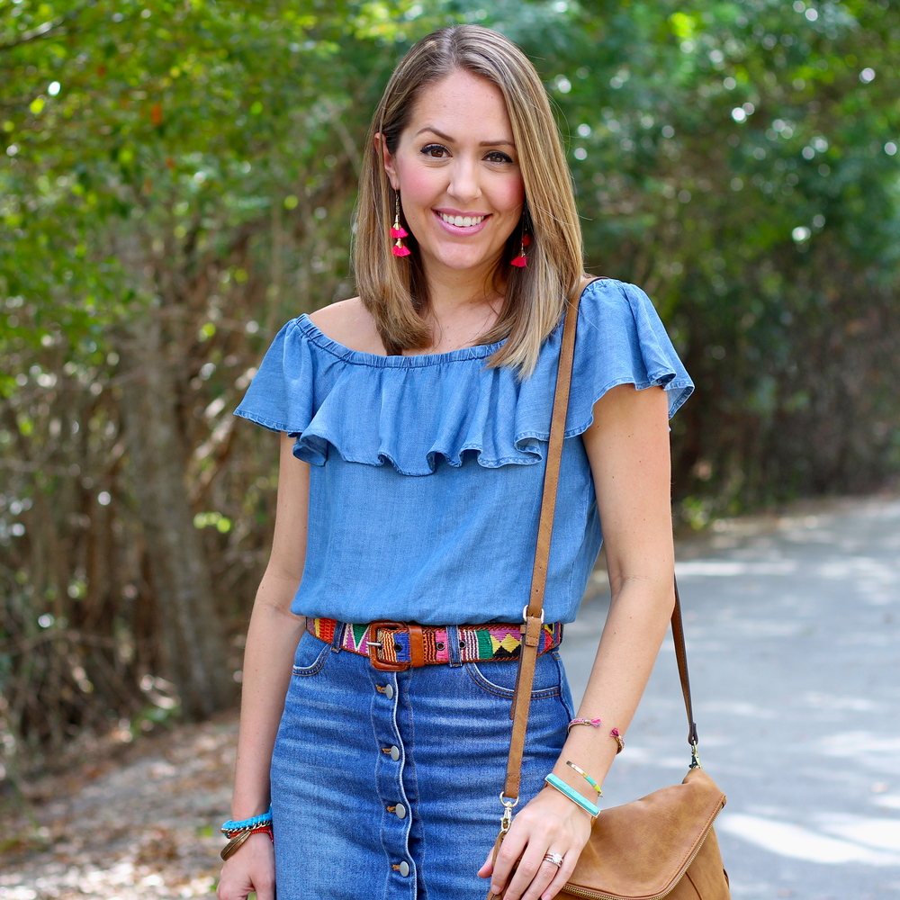 Chambray off shoulder, denim skirt, woven belt