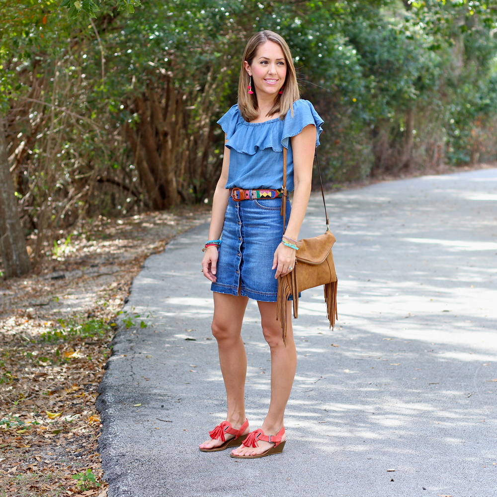 Chambray off shoulder, denim skirt, tassel sandals