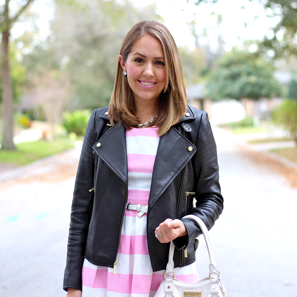 Pink stripe dress, black leather jacket