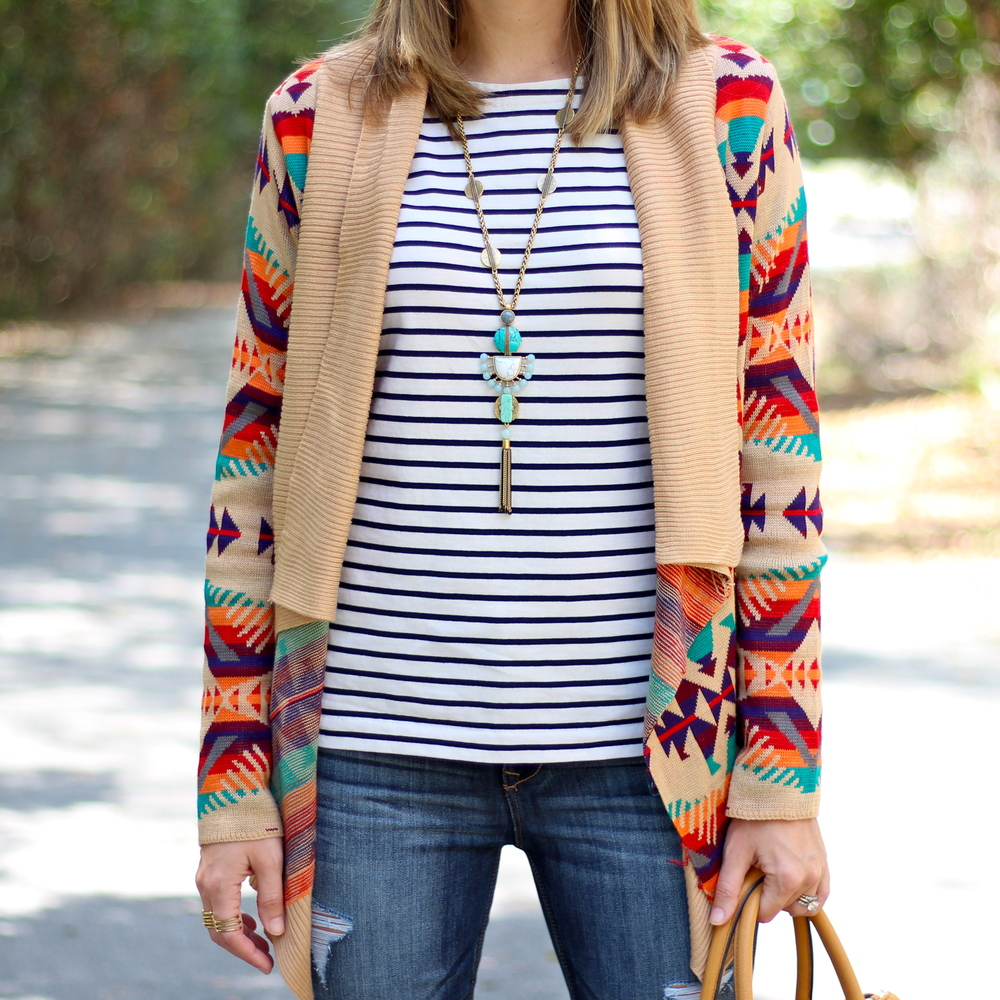 Rainbow tribal cardigan with striped shirt, turquoise pendant
