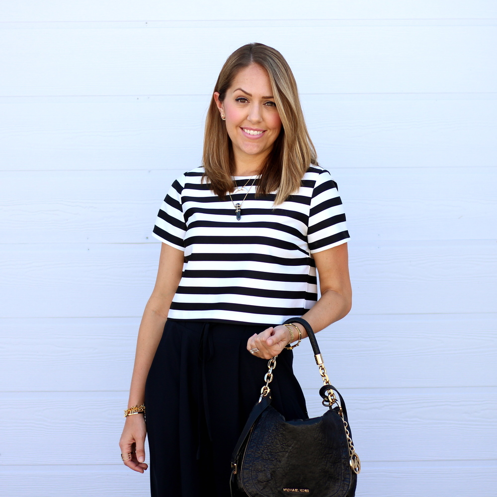 Striped crop top with black culottes