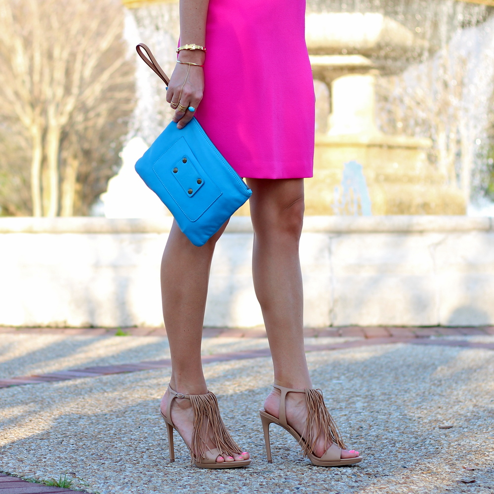 Hot pink dress, fringe heels