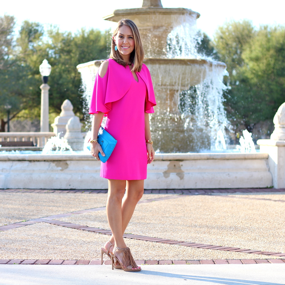 Hot pink cape dress, turquoise earrings
