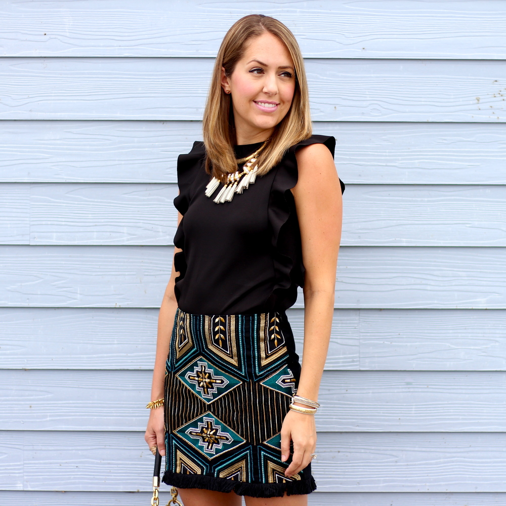 Beaded fringe skirt, ruffle sleeve shirt