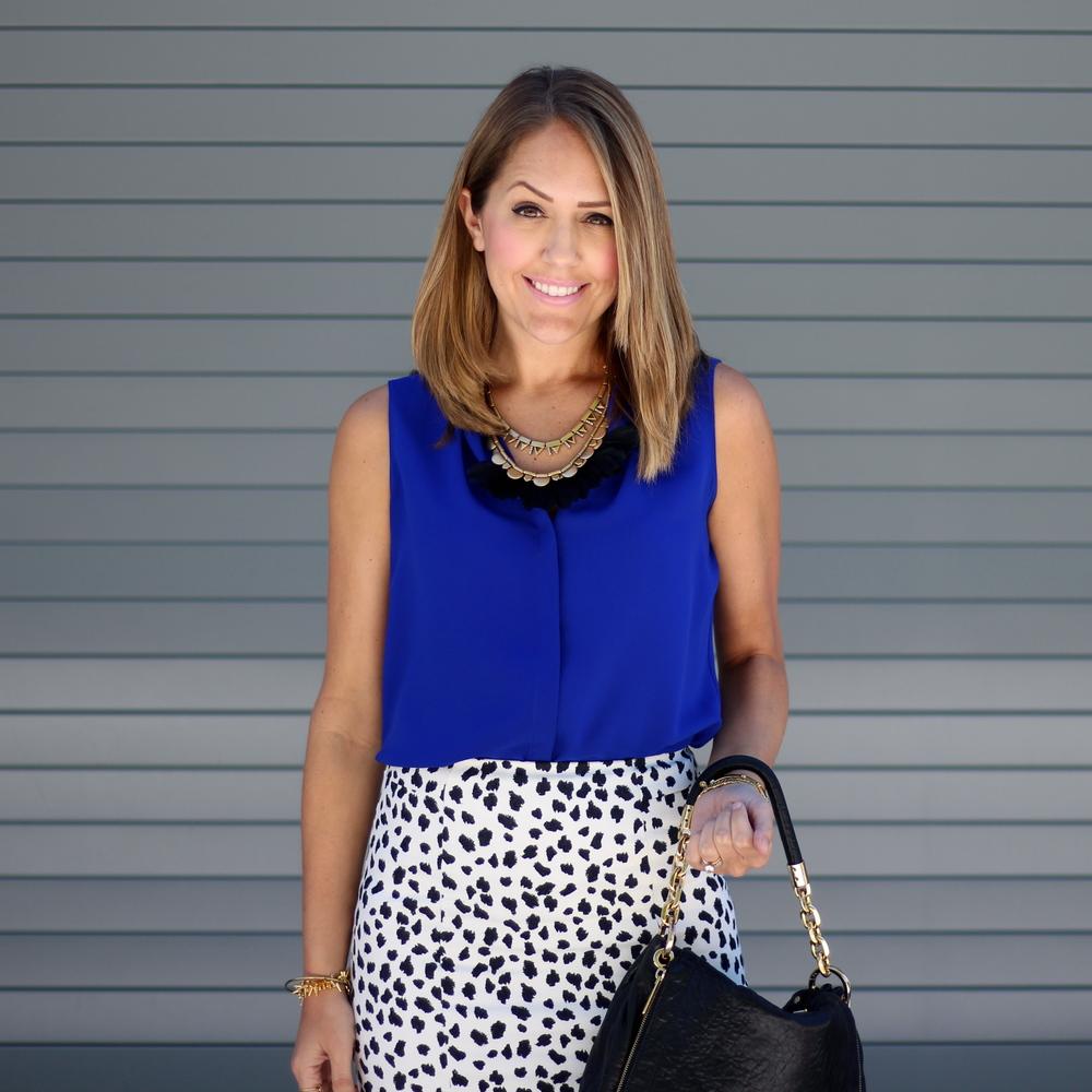 Cobalt top, Dalmatian skirt