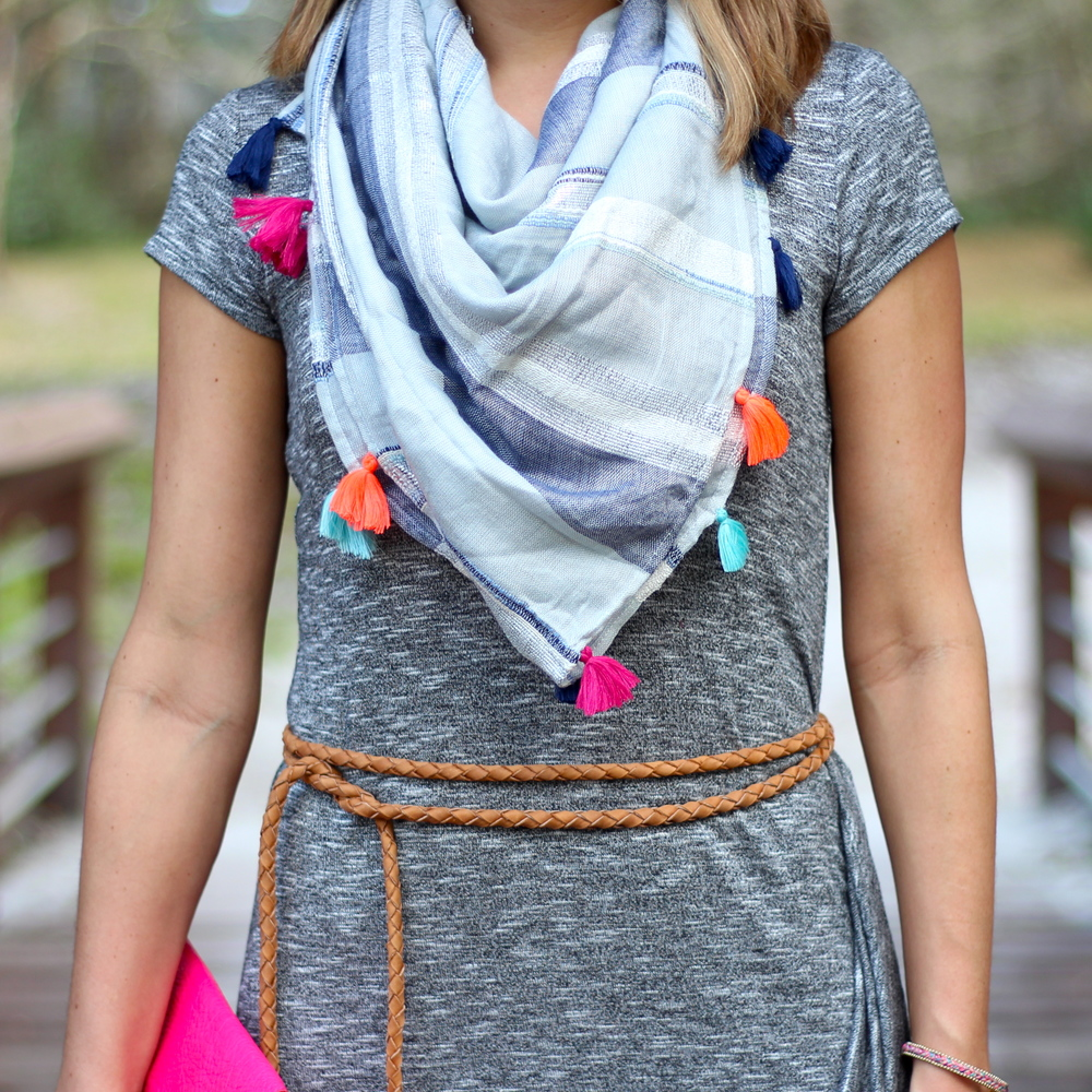 Tassel scarf, braided belt