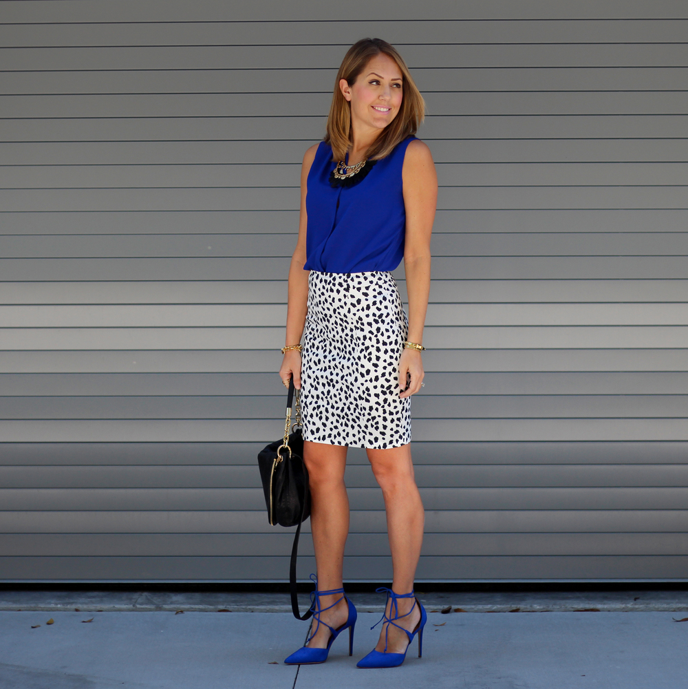 Cobalt lace up heels, Dalmatian skirt
