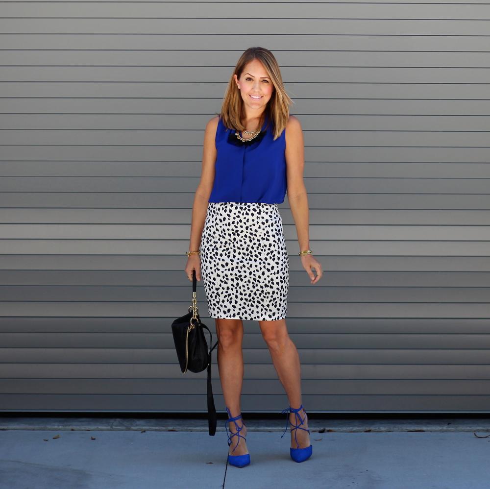 Cobalt heels, Dalmatian skirt