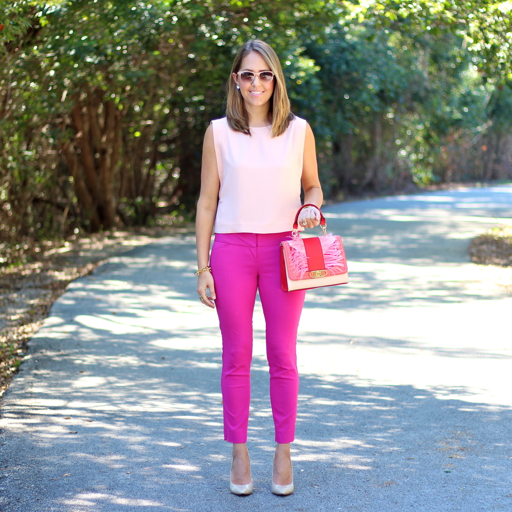 Pink pants, blush top