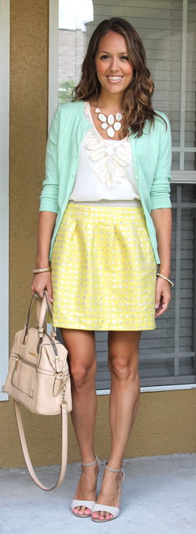 Mint cardigan, yellow skirt