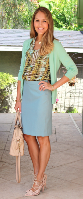 Mint cardigan, seafoam skirt