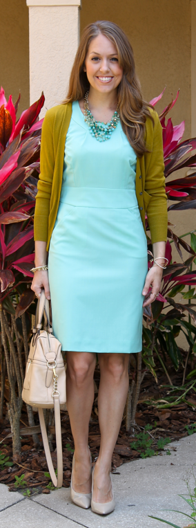 Mint sheath with pea green cardigan