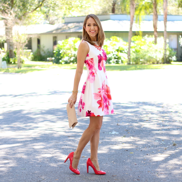 Calvin Klein pink floral dress
