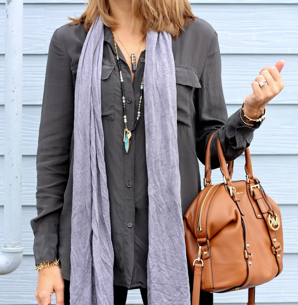 Silk tunic, gray scarf, leggings