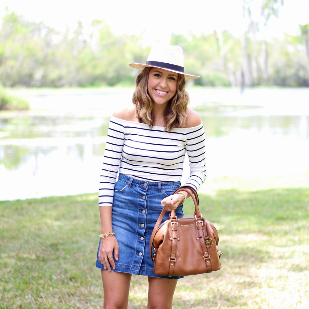Striped off shoulder top, Panama hat, button front denim skirt
