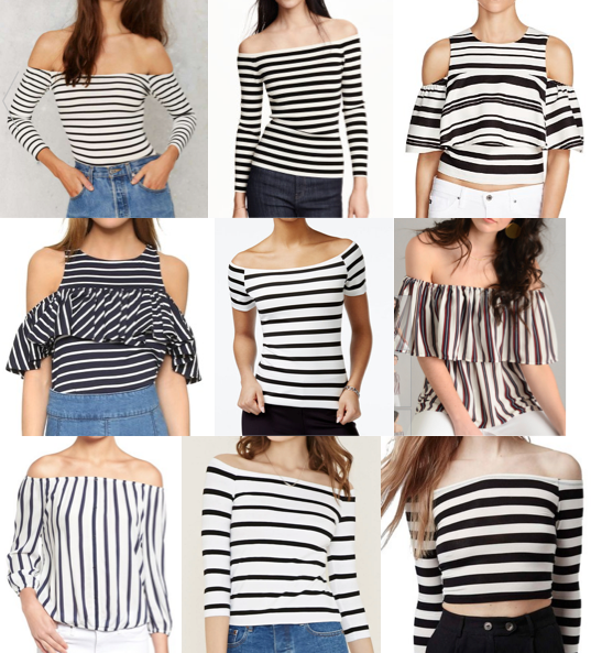 Off shoulder stripe tops