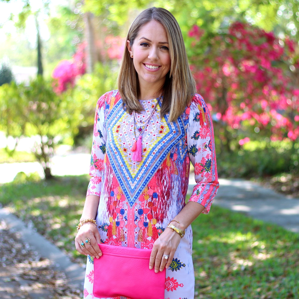 GB boho 3/4 sleeve dress, hot pink clutch, tassel necklace