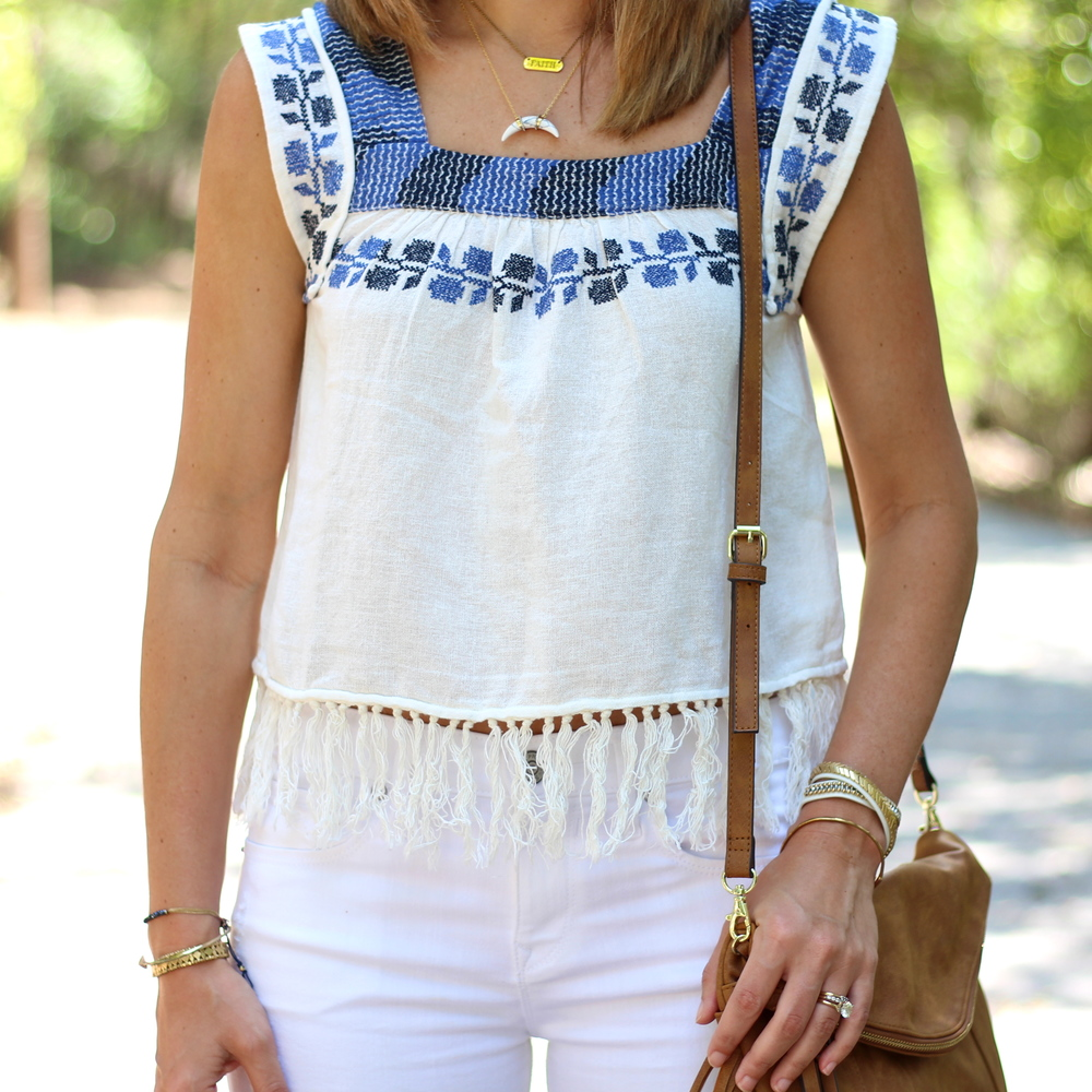 Embroidered fringe top, white jeans
