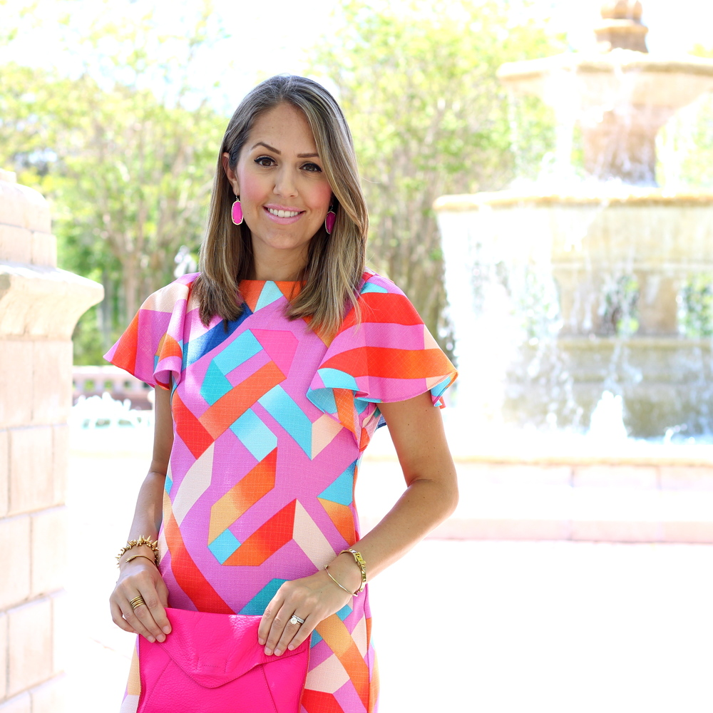 Geometric print dress, Kendra Scott pink earrings