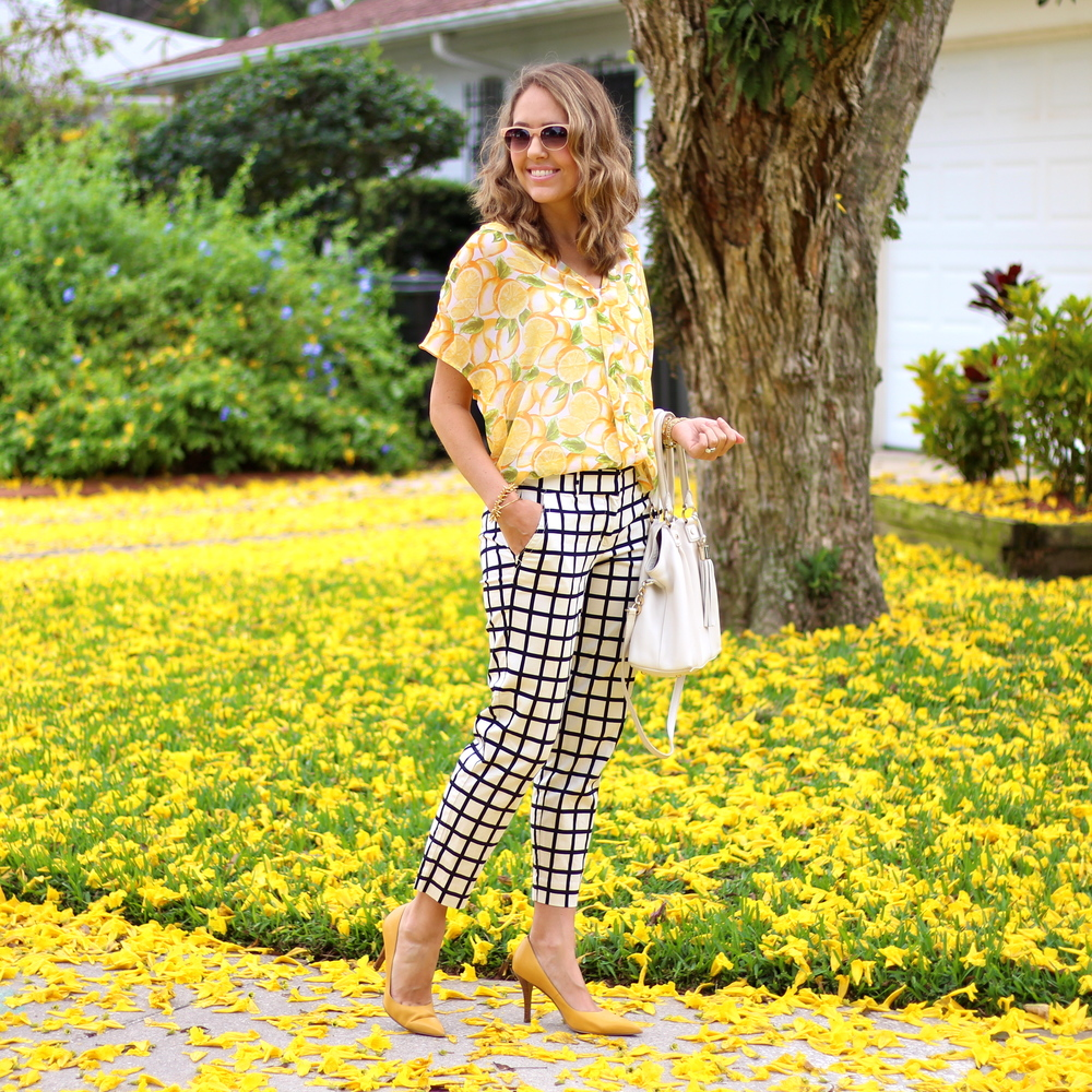 Lemon print top, windowpane pants, yellow pumps