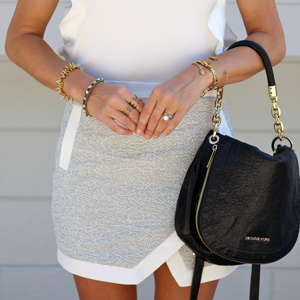Asymmetrical skirt, black Michael Kors bag