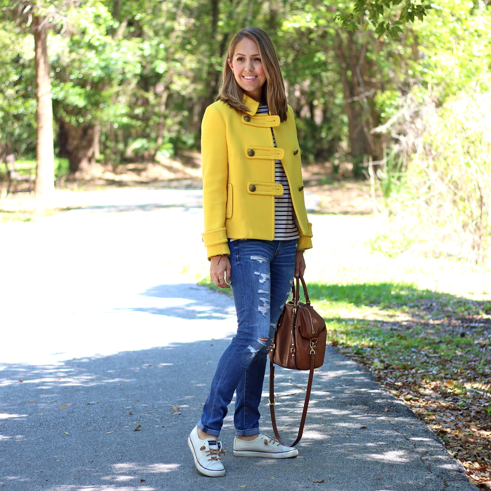 Yellow coat, striped shirt