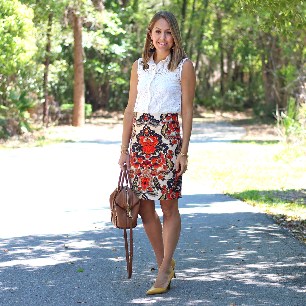 Lace button front, printed pencil skirt