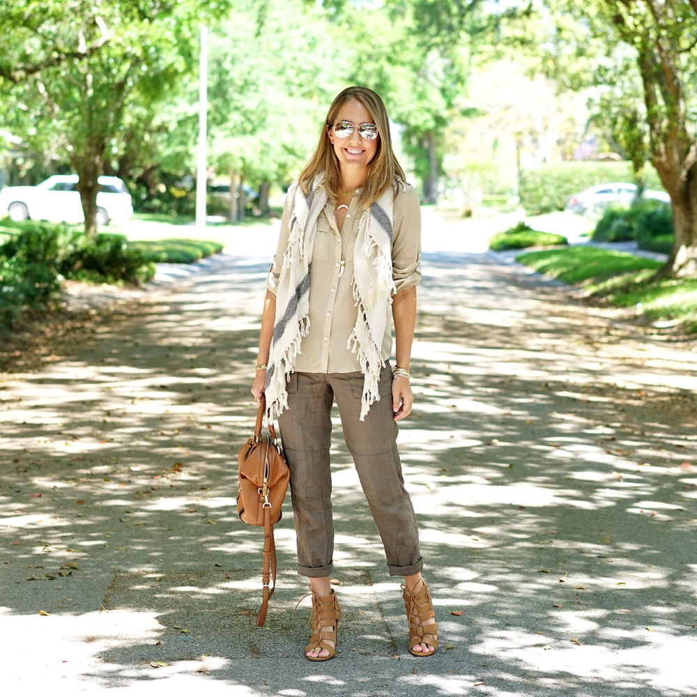 Linen pants, button front shirt, scarf